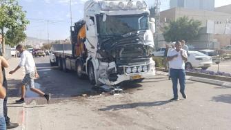 شاهد: توثيق لحادث الطرق اليوم بين شاحنتين في طمرة