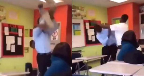 شاهد.. كيف تعامل معلم مع طالب حاول الاعتداء عليه