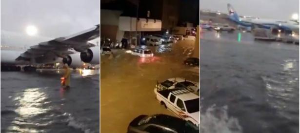 مطار الكويت يتحوّل إلى «بحر» والطائرات كأنّها راسية وسط الأمواج..