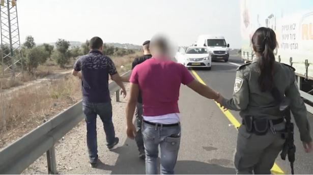 الشرطة توثق عملية مطاردة واعتقال فلسطينيين دخلوا الى البلاد بصورة غير قانونية