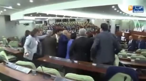 فيديو.. شجار وتشابك بالأيدي داخل البرلمان الجزائري