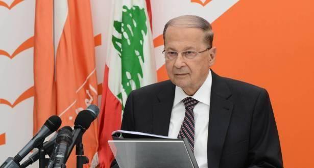 الرئيس اللبناني ميشيل عون يخاطب الشعب