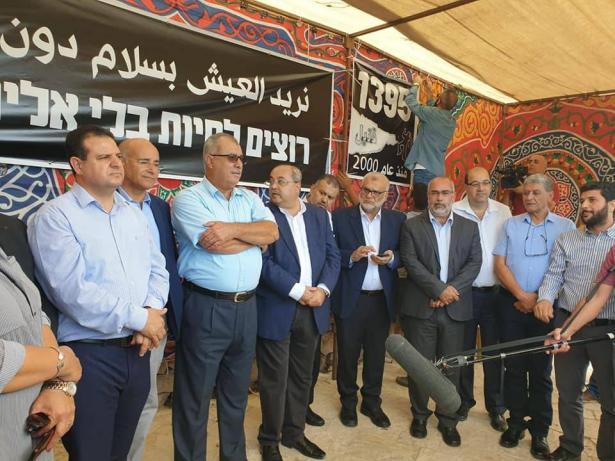 المتابعة والقيادات العربية تفتتح خيمة الاحتجاج قبالة مباني الحكومة في القدس