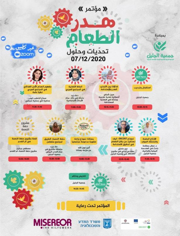 مؤتمر هدر الطعام: تحديات وحلول بمبادرة جمعية الجليل 07.12.2020