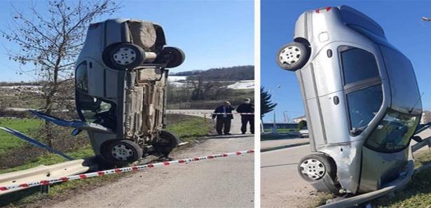 فقد السائق السيطرة على السيارة فوقفت منتصبة في مشهد غريب