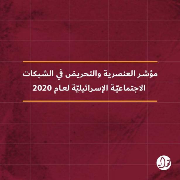 مؤشر العنصرية والتحريض 2020: ازدياد العنصرية والتحريض ضد الفلسطينيين والعرب خلال الجائحة